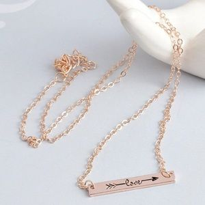 Jewelry - 3/$30 IN STOCK Rose Gold Bar Arrow Necklace